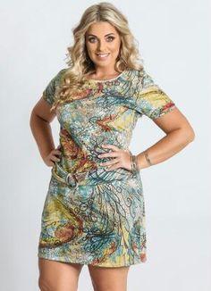 Vestido Estampa Abstrata Plus Size - Posthaus