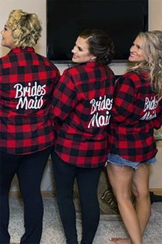 Charming Winter Wedding Gift Ideas For Bridesmaid To Try Asap - If you are opting for a winter wedding, then you might want to consider gifts that can go along with the winter theme for your bridesmaids. Bridesmaid Shirts, Wedding Gifts For Bridesmaids, Bridesmaid Ideas, Bridesmaid Proposal, V Neck Wedding Dress, Wedding Dresses, Maid Of Honor, Plaid, Flannel Shirts