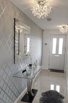 The Henderson Interiors Camden Trellis Wallpaper in Soft Grey Silver looks amazing styled in this Hallway To shop this design visit Decor, Trellis Wallpaper, Living Room Decor Cozy, Interior, Apartment Living Room, Decor Home Living Room, Hallway Designs, House Interior, Room Decor