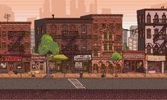 Urban Buzz city scene in pixels, inspired by Mother 3 and the Scott Pilgrim game