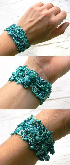 Beautiful turquoise bohemian cuff, freeform peyote. Japanese seed beads and czech glass beads  Width: 3 cm (1.2) !!!*** For wrist size 15,5 cm (6.1)
