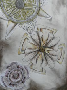 Bryony Starks' (FAD) developmental drawings from her own recycled medals. Fine liner and chalks. Ww1 Art, Design Department, Classroom Projects, Art Projects, Project Ideas, Student Work, Wwi, World War, Year 9