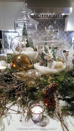 Easy and Elegant Christmas Decorating Ideas - Use Apothecary Jars - Home with Holliday It is that time of the year to start planning your holiday decor! Today, I am sharing several easy and elegant Christmas decorating ideas. Elegant Christmas Decor, Silver Christmas Decorations, Christmas Jars, Christmas Table Settings, Christmas Tablescapes, Christmas Centerpieces, Rustic Christmas, Christmas Home, Christmas Holidays