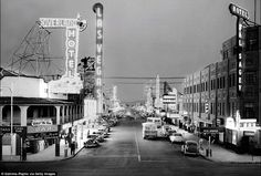 Nostalgia: With the odd car driving down Fremont Street in Las Vegas, this image is far cry from the packed main strip tourists witness today