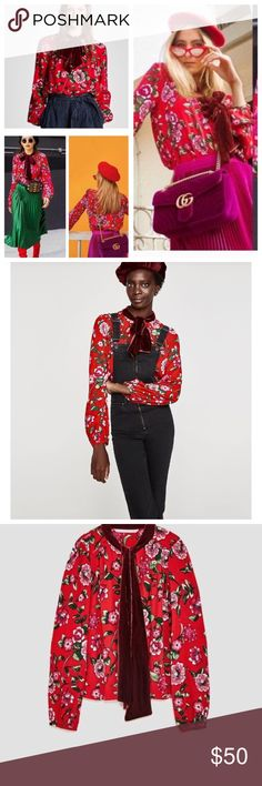 Zara Blogger Pussy Bow Velvet Floral Blouse XS NWT Gorgeous NWT red floral blouse with the velvet pussy now styletop. Size XS but does fit looser. Zara Tops Blouses
