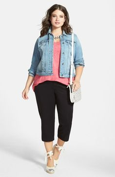 Nordstrom Jackets - Lucky Brand Denim Jacket, Sejour Tank & Crop Pants (Plus Size) available at Plus Size Womens Clothing, Plus Size Outfits, Nordstrom Jackets, Curvy Fashion, Cropped Pants, Lucky Brand, What To Wear, Summer Outfits, Denim