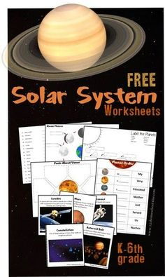Solar System Worksheets for Kids Great FREE pack for elementary age kids including moon phases planets vocabulary flashcards vocabulary quiz planet facts and Solar System Worksheets, Solar System Activities, Space Activities, Science Worksheets, Science Curriculum, Science Classroom, Worksheets For Kids, Teaching Science, Solar System Kids