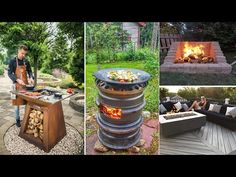 33 creative fire pit for your backyard landscaping ideas and BBQ Grill Garden Fire Pit, Diy Fire Pit, Fire Pit Backyard, Backyard Bbq, Barbecue, Bbq Grill, Diy Garden, Garden Ideas, Garden Farm