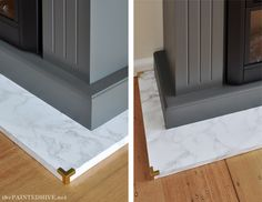 DIY Marble Contact Paper Hearth with Brass Corners | The Painted Hive