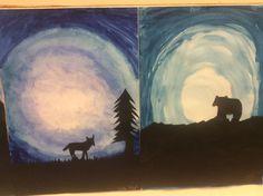 Eläimet kuutamossa.  Valööri ja siluetti. 4lk Classroom Art Projects, Art Classroom, School Projects, Teaching Art, Art School, Scenery, Winter, Cards, Painting