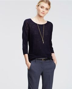Ann Taylor's Lacy 3/4 Sleeve Sweater in Navy Blue.