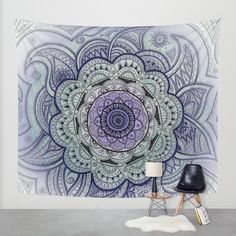 Wall tapestry Mandala Mandala drawing Purple by CalamariSky