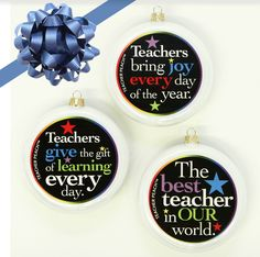 Teacher Glass Christmas Ornaments Set of 3 (Pearl White) -Give—and SAVE—with this amazing set of three teacher-thank you ornaments, designed to delight the many teachers in your world.