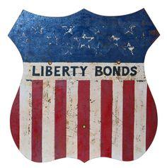"Purely Patriotic WWI Pacific Railways ""Liberty Bond"" Sign  U. S.  1st Quarter 20th c."