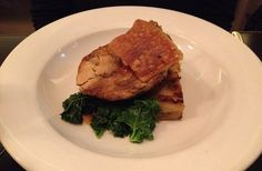 Pork chop with turnip gratin, kale and pear, also went well with the Syrah/Viognier