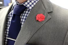Blue and Grey with a splash of pink. #Zenga suit, Yacoubians shirt, Hook & Albert lapel flower, Brooks Brothers tie