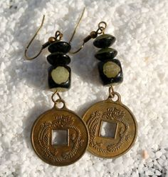 Chinese Lucky Coin Earrings  Hippie Dangles  by KatiesBasement, $12.00
