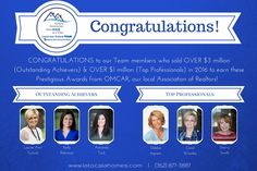 CONGRATULATIONS to our TEAM MEMBERS who are being recognized for having TOP SALES NUMBERS in 2016! (352) 877-3887  www.latocalahomes.com