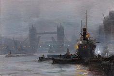 Tower Bridge au crépuscule de George Hyde Pownall (1876-1932)