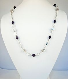 Purple And Sterling Silver Necklace by LLDArtisticJewelry on Etsy, $250.00