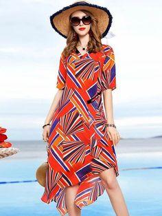 Holiday Asymmetric Print Silk A-Line Dress