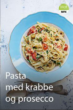 Oppskrift fra TV-serien Ginos italienske fristelser. Linguine, Frisk, Prosecco, Risotto, Nom Nom, Spaghetti, Food And Drink, Pasta, Baking