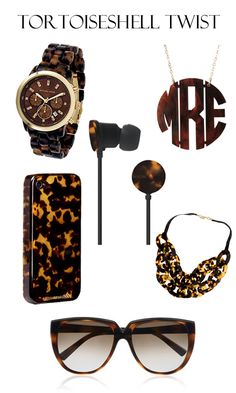 tortoiseshell sunglasses, earbuds, monogram necklace, iphone case and michael kors watch Athleisure, Jewelry Accessories, Fashion Accessories, Monogram Necklace, Tortoise Shell, Tortoise Care, Southern Charm, Southern Prep, Michael Kors Watch