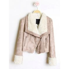 Fur Collar Zipper Jacket Khaki$100.00 ($100) ❤ liked on Polyvore