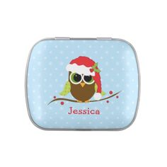 Cute Owl Christmas Candy Tins