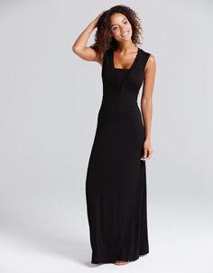 Deep V Neck Maxi in Black by Bravissimo Clothing