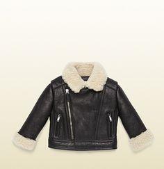 Gucci - leather biker jacket with shearling detail Gucci Baby, Pocket Detail, Baby Design, Biker, Kids Fashion, Luxury Fashion, Black Leather, Leather Jacket, Designer Baby