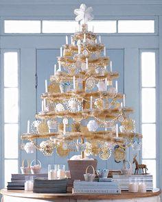 beaded wood veneer garland scandinavian christmas treesnordic - How To Put Ribbon On A Christmas Tree Martha Stewart