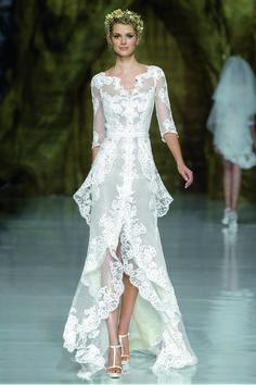 """Yaela"" lace A-line wedding dress with a layered high-low skirt, v-neckline, and three-quarter sleeves, Pronovias See more Pronovias wedding dresses.Photo: Courtesy of Pronovias Beautiful Gowns, Beautiful Outfits, Gorgeous Dress, Gorgeous Gorgeous, Absolutely Stunning, Bridal Dresses, Wedding Gowns, Wedding Skirt, Lace Weddings"