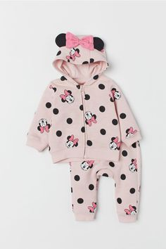 Hooded Jacket and Pants - Pink/Minnie Mouse - | H&M US 1