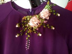 Silk ribbon embroidery on top...