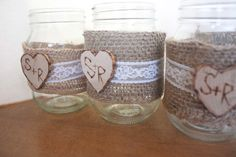 Rustic Shabby Chic #Burlap and Lace Mason Jar Set of 3