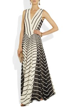 Halston Heritage Striped georgette gownoutfit