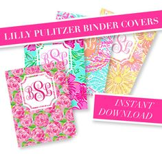 INSTANT DOWNLOAD- 4 Lilly Pulitzer Custom Monogram Binder Cover Printable - Lilly Pulitzer Monogram - Printable Binder Insert on Etsy, $3.00