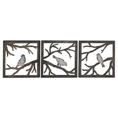 Birds on Branch Squares11x11 - 3 Piece