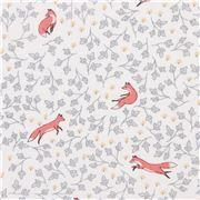 light cream fabric with fox animal small leaf by Dear Stella USA
