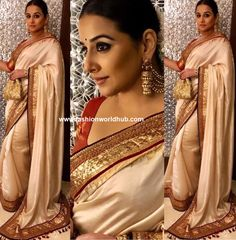 Vidya Balan at the pre wedding celebrations of  Isha Ambani and Anand Piramal , she was seen in ivory silk saree paired that has contrast marron border paired with contrast maroon elbow length sleeve blouse by ' Tarun Tahiliani '  .Statement jumkhas , smoke eyes and mogra flowers rounded her look.