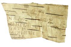 Medieval Kids' Doodles. In the 13th century, schoolboys learning to write filled these birch bark scraps with alphabets and short texts. Then the pupils got bored and started to doodle, as kids do: crude drawings of individuals with big hands, as well as a figure with a raised sword standing next to a defeated beast. One was drawn by Onfim, who put his name next to the victorious warrior. Discovered in the '50s near Novgorod, Russia.