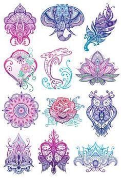 Mandala Glitter Temporary Tattoo Set #TemporaryTattooDesigns