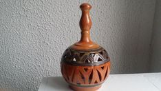 A Clay Pottery Candle Holder image 3 Thistle Flower, Egyptian, Candle Holders, Artisan, Pottery, Clay, Vase, Candles, Handmade