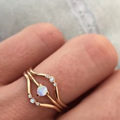 -solid 14kt gold -3mm Australian Opal The most dainty and perfect little stacking ring with just a hint of color. Guaranteed to become your favorite go-to ring :) *If you require a half size or any ot