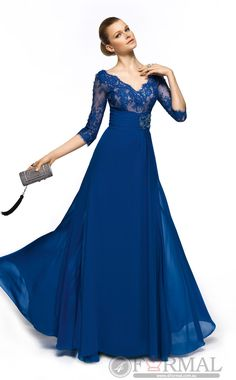 Modest Blue Chiffon Long Prom Dress With Sleeves at 4formal.com.au