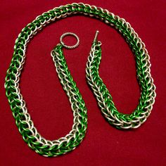 Chainmail necklace on AllenCreations website. Pretty in green and silver.