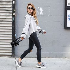 notjessfashion: Day 4 of #NYFW, giving my feet a break with these adorable @sam_edelman sneakers, and yes they are super comfy! @ryanbyryanchua