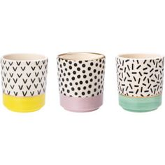 Set of 3 Memphis Modern Mini Pastel Planters available to buy direct from Sass & Belle.Pastels + plants = match made in heaven! This Set of 3 Memphis Modern Mini Pastel Planters is a charming way to ho Pottery Painting Designs, Paint Designs, Mini Plants, Potted Plants, Crackpot Café, Painted Plant Pots, Sass & Belle, Pot Plante, Modern Planters