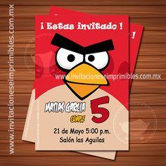 Invitación de cumpleaños para imprimir Angry Birds rojo